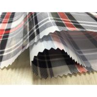 Yarned Dyed Fabric Synthetic Leather Fabric 0.4mm Transparent With Red / Black Grid Manufactures