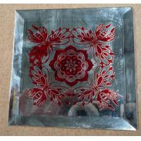 China silk printing glass decorative mirror red flower art glass on sale