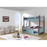 Sky blue painting bunk bed for children bedroom in solid wood frame and MDF plate with storage drawers in apartment furn Manufactures