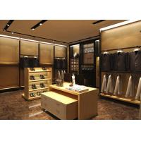 Wood Grain Clothing Display Case Beige Coating Color For Men Suit Store Manufactures