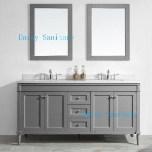 Large Space Marble Top Bathroom Vanity , 72 Inch Country Bathroom Vanity Manufactures