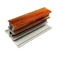 T Shape Wood Finish Aluminium Profiles Length Customized For Glass Doors Manufactures