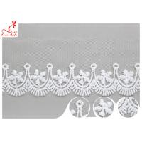 Polyester Width 3CM Ribbon Embroidered Lace Trim For Wedding Dress Manufactures