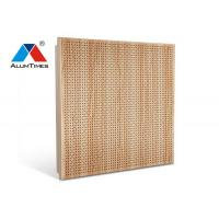 Leaf Shaped Wooden Color Aluminium Perforated Ceiling / Acoustic False Ceiling Manufactures