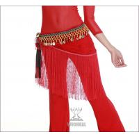 Elegant Lace Belly Dancing Coin Hip Scarf Around Waist In Red / Purple / Blue Manufactures