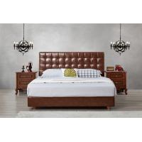 Leather / Fabric Upholstered Headboard Bed for Apartment Bedroom interior fitment by Leisure Furniture with Wooden table Manufactures