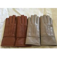 Windproof Men'S Shearling Sheepskin Gloves , Thick Fur Lined Leather Gloves Mittens  Manufactures
