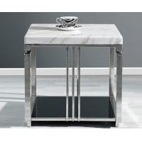 White Quartz Top Hotel Coffee Table Metal Frame With Stainless Steel Polished