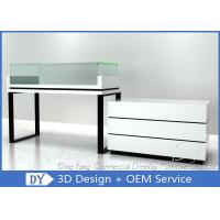 Retail Glass Wooden White Jewelry Counters / Jewerly Display Cases Manufactures