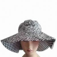 Women's Hat with Wide Brim, Made of Cotton Twill Manufactures