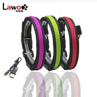 Waterproof Flashing Dog Collar , Nylon Material Safety Rechargeable Petsafe Dog Collar Manufactures