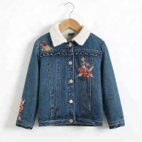 Embroidery Designs Kids Denim Clothes , Lovely Winter Girls Jeans Coat Manufactures