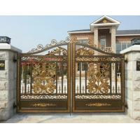 Villa Electroplated Cast Iron Gates / Courtyard Metal Driveway Gates Manufactures