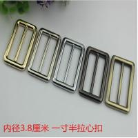 New product 38 mm hanging brush anti brass color zinc alloy metal slide adjustable buckles for bag hardware Manufactures