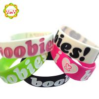 Custom 1 inch silicone bracelet, rubber wrist band, ink filled wristband Manufactures