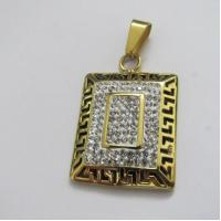 Costume Jewellery Gold Plating 316L Stainless Steel Crystal Pendants Manufactures