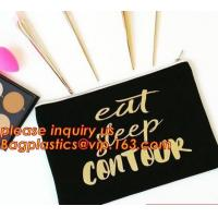 Custom printed fashion make up cosmetic cotton canvas zipper pouch bag,Zipper Canvas Pouch Customized Logo Printed Cotto Manufactures