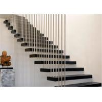Wood Treads Modern Floating Stairs , Floating Stairs With Glass Railing CE Approval Manufactures