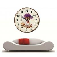 Vintage Round Wooden Wall Clock Lavender Vase Straw Hat Quartz Round Face Wall Clocks for Office Cafe Decoration Manufactures
