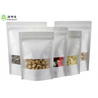 China White Kraft Paper Ziplock Stand Up Pouch Bag With Clear Window on sale
