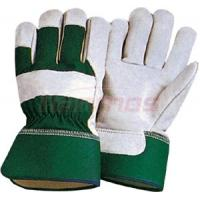 China Industrial working natural Cotton Back Cow Leather Gloves 12008  with rubber cuff on sale