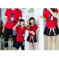 China Casual Cotton Kids T Shirts Pants , Summer Matching Family Shirts With Skirt Set on sale
