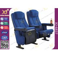 Molded PU Foam Gravity Fold Up Theatre Seating Chairs Fabric Cover With Push Back Manufactures