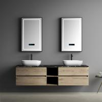 Wood Colour Black Table 4 Drawers Bathroom Vanity With Two Touch Mirrors Manufactures