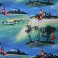 China 75D/144F Printed Polyester, Microfiber Peached Skin Tropical on sale