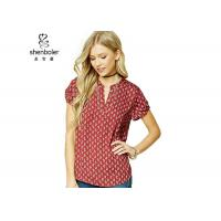 Paisley Print Womens Chiffon Tops Red Short Sleeves Slit Neck Chiffon Top Manufactures