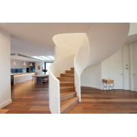 Modern Style Solid Wood Tread Curved Stair with Frameless Glass Railing Manufactures