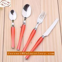 24 Pcs Salmon Pink PP Plastic Handle Cutlery And Tableware Manufactures