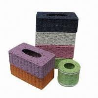 China Storage Box/Tissue Box Cover, Closet Storage Organizers, Paper Rope, Comes in Various Colors/Style on sale
