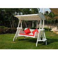 China White Color Swinging Chair Rattan Patio Swing 2-Seater Garden Furniture on sale