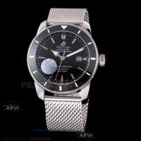 Perfect Replica Breitling Superocean Black Dial Black Ceramic Bezel Stainless Steel Band 42mm Watch Manufactures