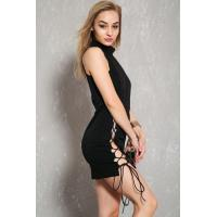 Discount Sexy Black Lace Up Sleeveless Bodycon Party Dress For Women
