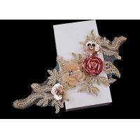 3D Flower Beaded Lace Embroidered Applique Patches Collar With Sequin Rhinestone Manufactures
