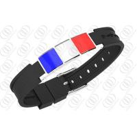 China French Flag Stainless Steel Magnetic Bracelets With Germanium on sale