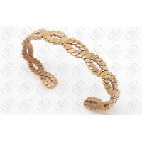 China PVD IP Rose Gold Plated Bangle For Lady , 316L Stainless Steel Weaved Bracelets on sale