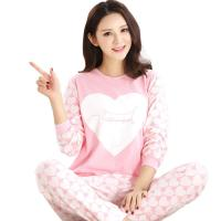 Spring Fall Ladies Pyjama Sets Pink Girl Long Sleeve Cotton Love Print Pajamas Manufactures
