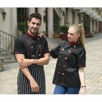 Adult Hotel / Bar Black Chef Uniform With Short Sleeve / Womens Chef Uniforms Manufactures