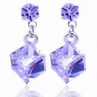 100% Austria Crystal Earrings with 18K Gold Plating, Customized Specifications are Accepted Manufactures