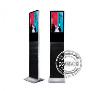 China USB Update Media Kiosk Digital Signage 21.5'' Magazine Holder Advertising With Book Shelves on sale
