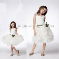 Round Neck Sash With Flower Layered Tulle Skirt Little Girl Dress (FD10010) Manufactures