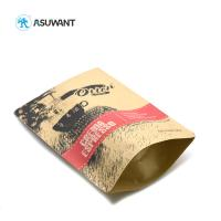 China Pp Laminated Printed Kraft Paper Zipper Bags Coffee Bean Packing With Window on sale