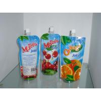 China Custom Sky Blue Plastic Spout Pouch Packaging Orange Juice Drink Packaging on sale