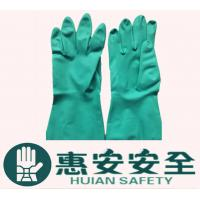 Green Long-Sleeve Flock Lined Industrial Nitrile Glove Manufactures