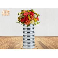 Modern Style Cylinder Fiberglass Flower Pots With Silver Mirror Mosaic Finish