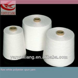 27/1 raw white polyester spun closed virgin yarn instock Manufactures