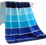 100% Cotton Soft Beach Towel Pool Towel Gradient Blue Striped Towel Bath Towel Manufactures